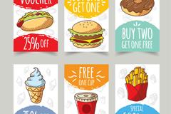6款彩绘快餐食品促销卡片矢量图