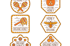 6款手绘有机蜂蜜标签矢量素材