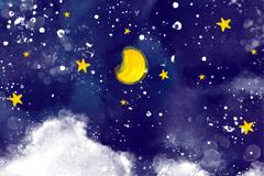 水彩绘蓝色夜空风景矢量素材