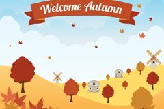 秋季郊外田野和风车风景矢量素材