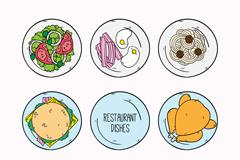 8款彩绘餐馆菜品俯视图矢量素材