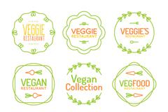 8款彩绘素食餐馆标签矢量素材