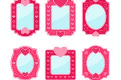 6款玫红色镜子设计矢量素材