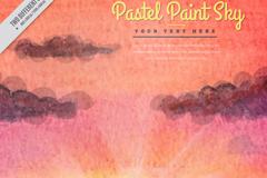 彩绘柔和日落风景矢量素材