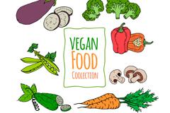 7款彩绘素食蔬菜矢量素材