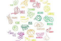 20款彩绘蔬菜和水果勾线矢量图