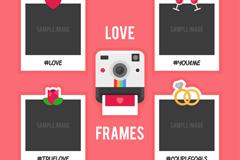 拍立得相机和4种照片框矢量素材