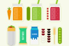 10款扁平化素食食品元素矢量素材