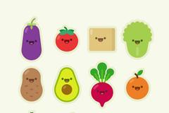 12款蔬菜和水果可爱表情矢量图