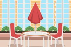 整洁室外餐厅设计矢量素材