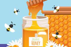美味瓶装蜂蜜和蜜蜂矢量素材