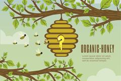 创意树枝上的蜂窝和蜜蜂矢量素材