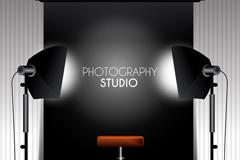 时尚黑色室内摄影棚矢量素材