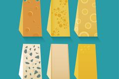 6款美味三角奶酪矢量素材