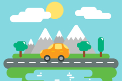 夏季自驾游郊外风景矢量素材