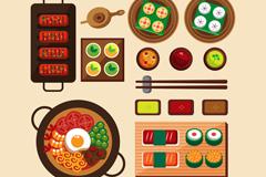 14款美味亚洲菜品和寿司矢量图
