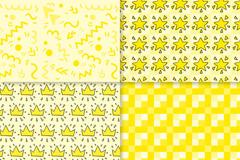 4款清新黄色图案无缝背景矢量图