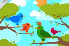 卡通树枝上的四只小鸟矢量素材