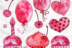 7款枚红色气球和蛋糕矢量图