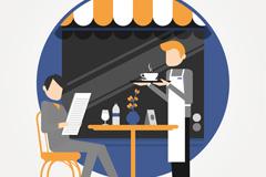 餐厅点餐的男子和服务生矢量图