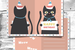 可爱黑猫生日祝福卡矢量素材