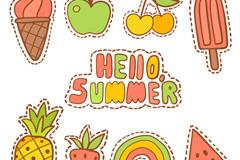 8款彩色夏季补丁徽章矢量素材