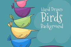5只彩色叠罗汉的小鸟矢量素材