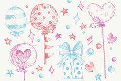 7款彩绘生日装饰物矢量素材