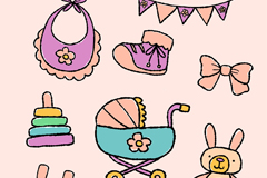 9款彩绘婴儿用品元素矢量素材