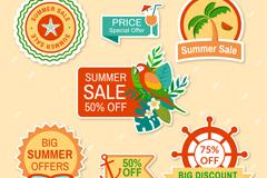 7款夏季销售贴纸设计矢量素材