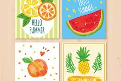 4款水彩绘夏季水果卡片矢量素材