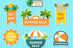 7款彩色夏季销售贴纸矢量素材