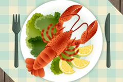 美味龙虾料理俯视图矢量素材
