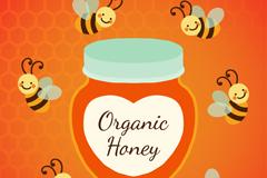 六只卡通蜜蜂和罐装蜂蜜矢量图