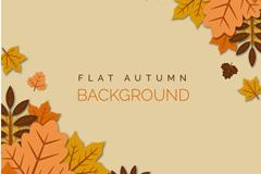 扁平化秋季叠加树叶背景矢量素材