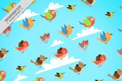 卡通空中飞翔的鸟无缝背景矢量图