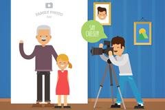 卡通照相馆照相的爷爷和孙女矢量图