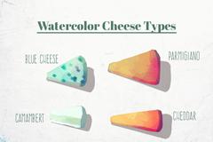 6款水彩绘三角奶酪矢量素材