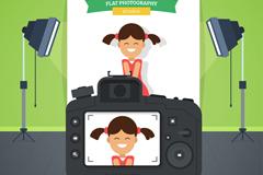 摄影棚照相的女孩矢量素材
