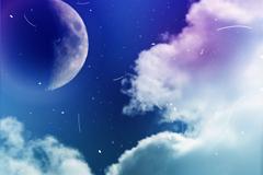 梦幻天空月球与云层风景矢量素材
