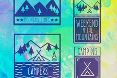 4款户外野营登山徽章矢量素材