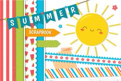 13款卡通夏季剪贴簿元素矢量图