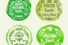4款绿色水彩绘有机食物徽章矢量素材