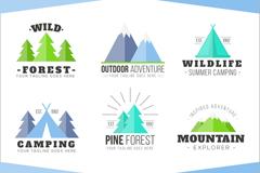 6款扁平化森林与野外探险标志矢量图