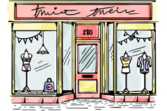 彩绘时装精品店橱窗设计矢量素材