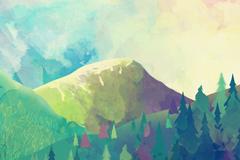 水彩绘森林山脉风景矢量素材