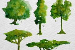 5款水彩绘树木设计矢量图