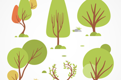 6款创意树木设计矢量梦之城娱乐