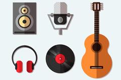 6款扁平化音乐工作室元素矢量图