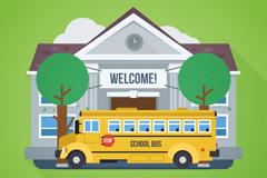 创意返校校车和教学楼矢量图